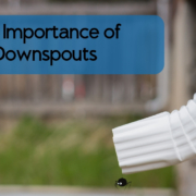 The Importance of Downspouts blog image of a downspout with a little spider dangling out of the end.